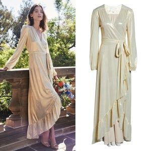 NEW WAYF Metallic Meryl L/S Wrap High/Low Gown M